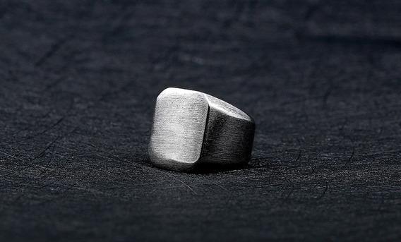 Anel Masculino Quadrado Em Aço Inox Polido Resistente Prata