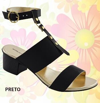 Sandália Com Salto Médio Estilo, Disponível Em Várias Cores.
