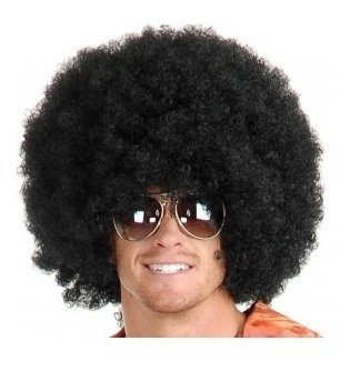 Peruca Black Power Preta Afro Retro Cosplay Fantasia