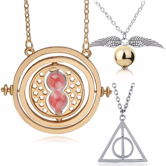 Kit Colares Harry Potter: Pomo-bola + Vira-tempo + Relíquias