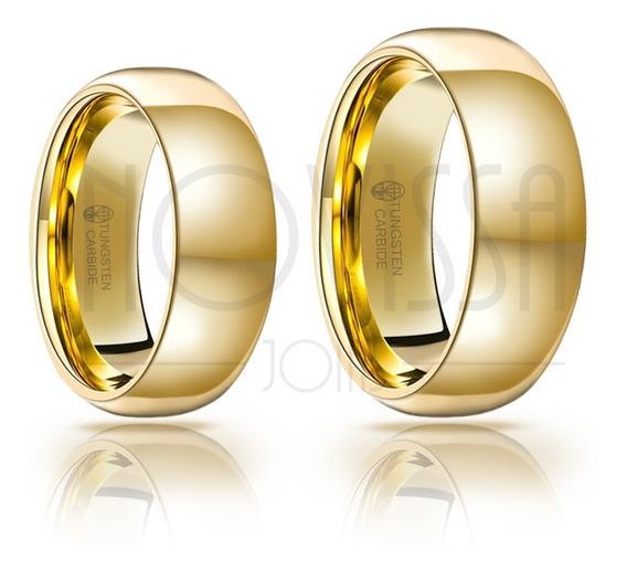 Aliança De Tungstênio Magnetizada A Ouro 18k - Acabamento De