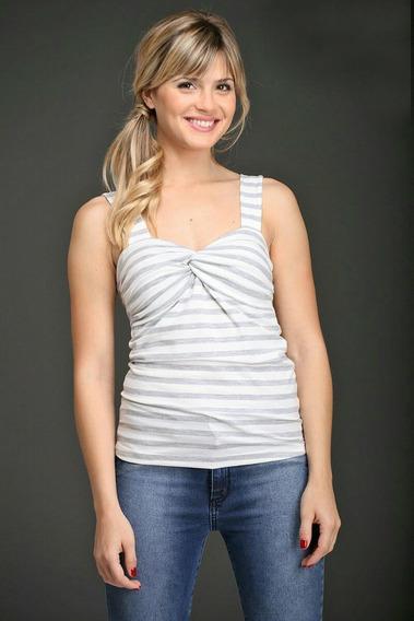 Remera Musculosa Mujer Rayada Con Breteles Anchos
