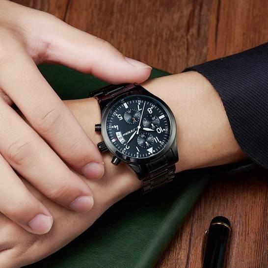 Relógio Masculino Esporte Cronógrafo De Quartz Aço Inox