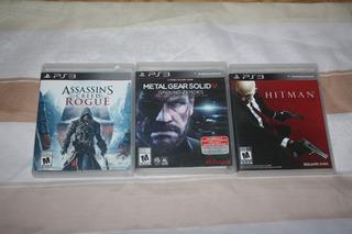 Lote Ps3 Assasin Creed Rogue Hitman Metal Gear Solid.