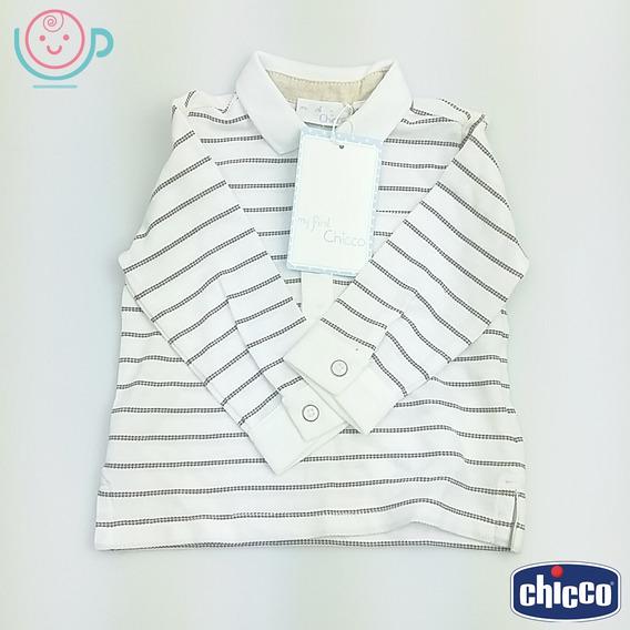 Camiseta Polo Manga Longa Chicco 100% Algodão