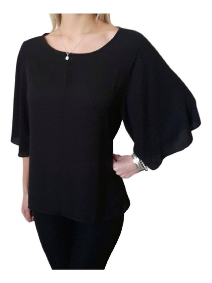 Blusa Camisola De Gasa Mujer Con Lazo