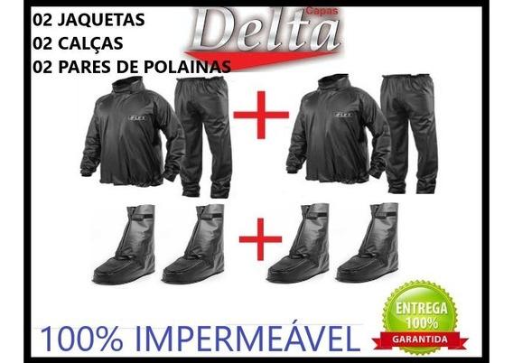 Capa Chuva Motoqueiro Delta 2calças 2jaquetas 2par Polainas