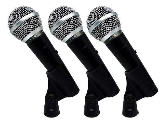 Kit 3 Microfones De Mão Com Fio Leson Ls50 + Cabo P10