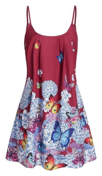 Vestido Casual Estampado De Mariposa Para Dama M-3xl