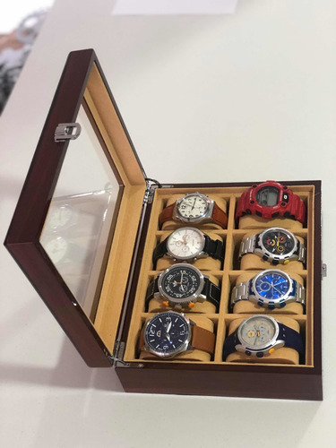 Caja En Madera Natural Para Guardar 8 Relojes ,exclusiva