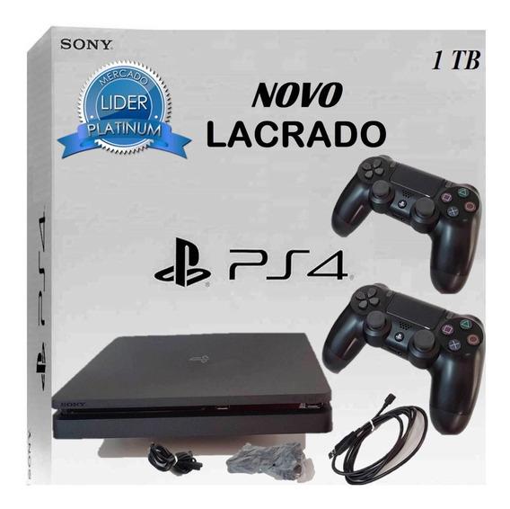 Ps4 Slim 1tb Sony Bivolt Novo Lacrado Slim 2 Controles Hdr