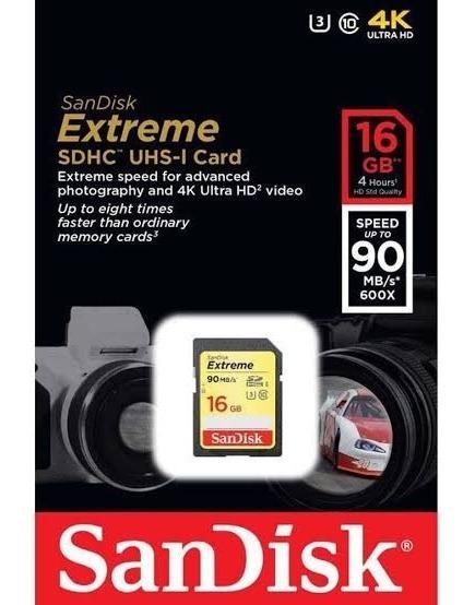 Cartão Memória Sandisk Sdhc 16gb Extreme Iii Classe 10