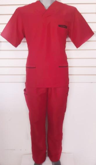Uniforme Quirúrgico Para Caballero Rojo Con Bies Negro