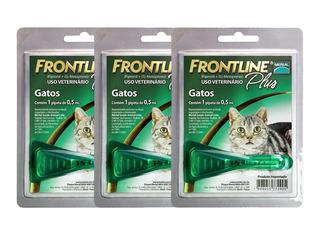 Kit Com 3 Frontline Plus Para Gatos Combo