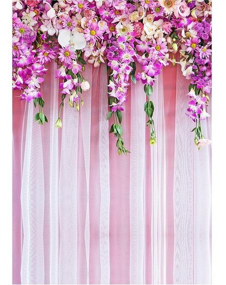 Fundo Fotográfico Flores Rosas Em Tecido 1,5x2,2m - Fff-66