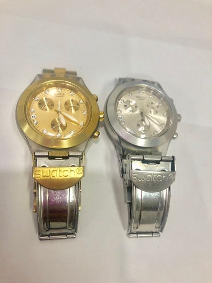 Relógio Swatch Full Blooded Dourado E Prata.