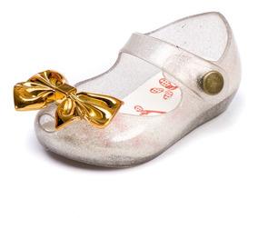 Sapatilha Tipo Melissa Infantil Feminina Prata Laço Dourado