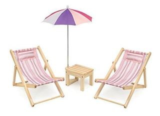 Badger Basket Two Doll Beach Chair Con Mesa Y Paraguasrayas