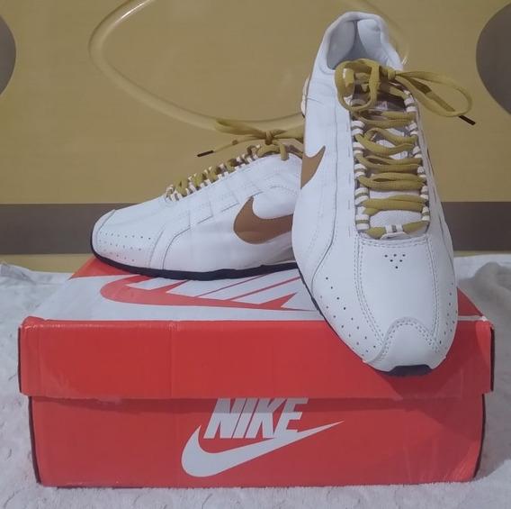 Tenis Nike Shox Junior Branco E Dourado Nº40 Original!!!