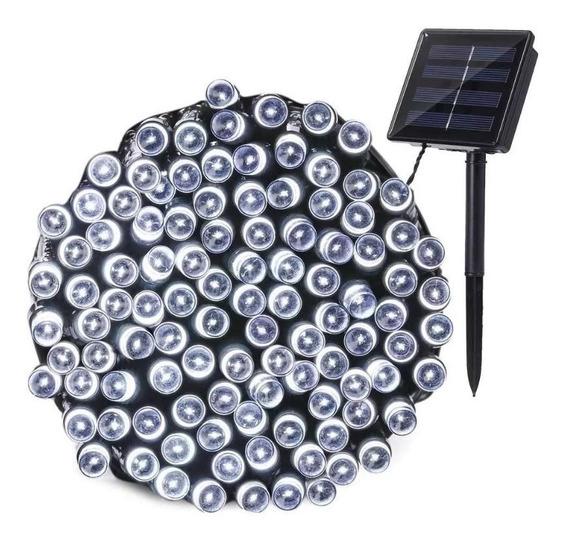 Serie Solar Led Blanca 100 Luces 12 Metros Sensor Oscuridad