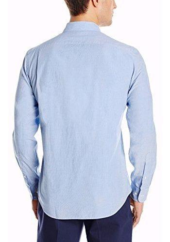 Camisa Oxford con cuello en banda de manga corta y corte entallado para hombre Goodthreads Marca