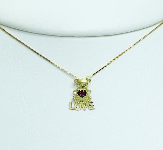 Pocao2005- Colar De Ouro 18k750 Menina Love Rubis C235