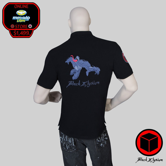 Playera Polo - Marvel Venom Bordado 3d - Black Elysium