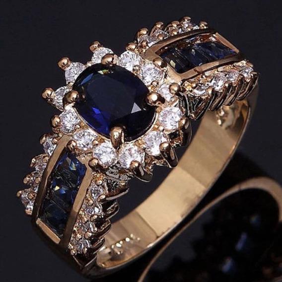 Anel Solitário Cristal E Zirconias Banhado A Ouro 18k