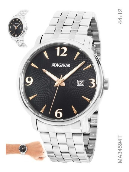 Relógio Masculino Prata Magnum Original Caixa Em Aço