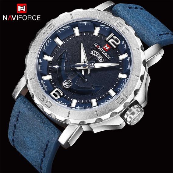 Relógio Naviforce 9122 Original Luxo Com Calendário De Couro