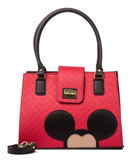 Bolsa Feminina Transversal Forrada Quadrada Magic Mickey