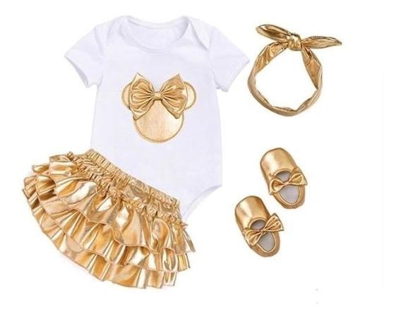 Disfraz Conjunto 4pz Minnie Dorado Y Blanco Bebé Ver Tallas