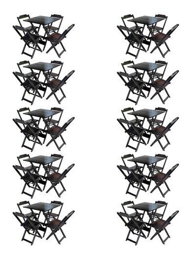 Kit 10 Conjuntos 70x70 De Mesa Com 4 Cadeiras Madeira Tabaco