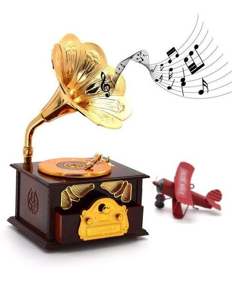 Joyero Caja Musical Antiguo Gramófono Regalo Dama Coleccion