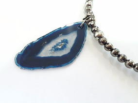 Chocker Pedra Natural Azul Bolinha Onix