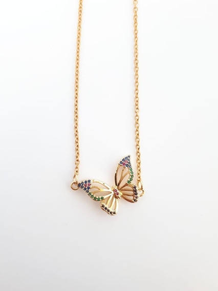 Collar Fino Mariposa Con Zirconias Y Cadena Acero Inoxidable