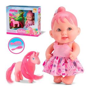 Boneca Babies C/ Unicórnio Escova Pente Bee Toys - 133664