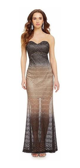 Vestido De Fiesta Para Dama Negro Strapple Metalico Moderno