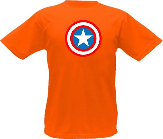 Camiseta Capitão America Desenho Filme Ação Herói Escudo