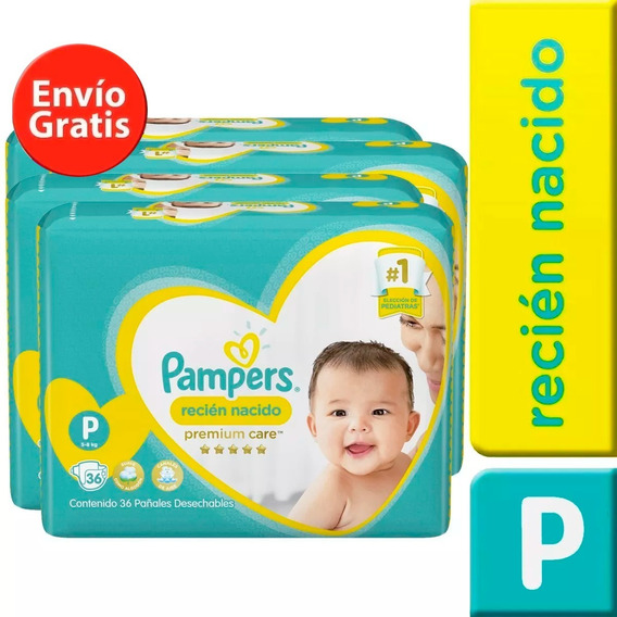 4 Paquete Pañales Pampers Premium Care 144 Unidades Talla P