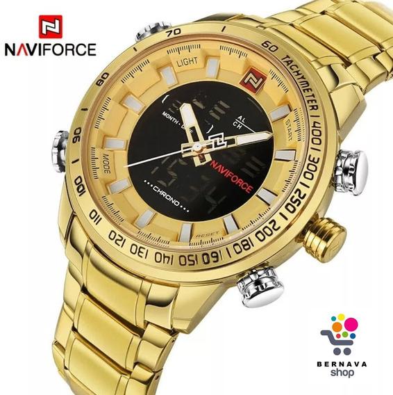 Relógios Masculinos Naviforce 9093, Dourado, Aço Inoxidavel