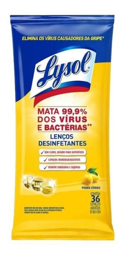Lenços Desinfetantes Lysol - Poder Cítrico 36 Unidades