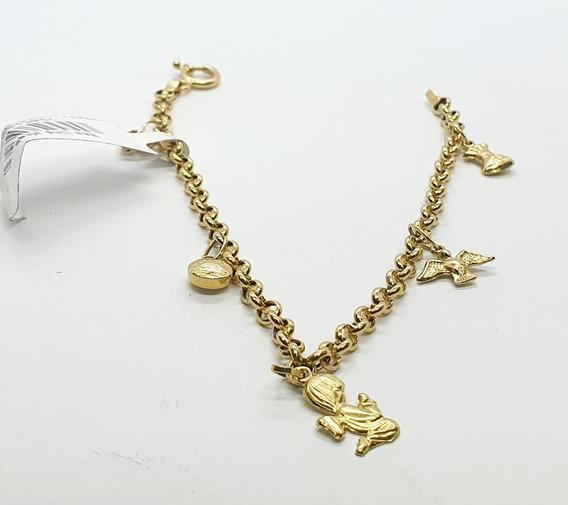 Pulseira Em Ouro 18k Portuguesa Com Berloques 19cm 4,51g