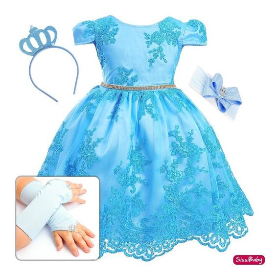 Vestido Festa Infantil Princesa Azul Daminha Bordado Luxo
