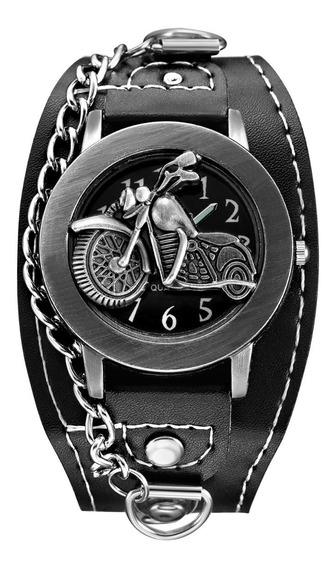 Reloj Punk Envio Gratis Piel Biker Cuero Metalero Vintage M3