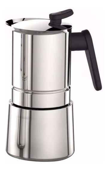 Cafetera Express Pedrini Steel Moka 4 Tazas Acero Inox.