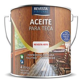 Aceite Para Teca Satinado 1 Litro Revesta 4970 Madera Mm