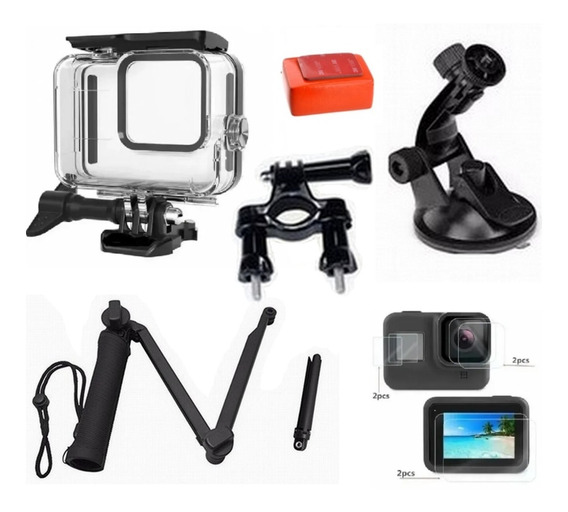 Kit P Gopro Hero 8 Black Estanque Tripé 3 Way Película Bóia