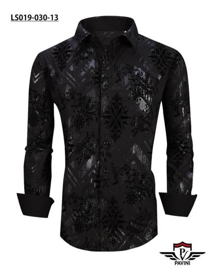 Camisa Para Hombre Moda Marca Pavini Ls019-030-13 Negra (1)