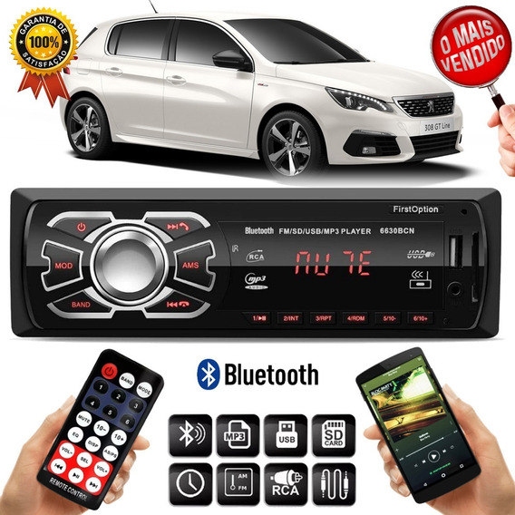 Mp3 Player 6630bcn Peugeot 408 308 3008 1 Din Usb Rádio Fm